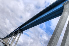 San Diego-Coronado Bridge. Picture of the blue San Diego-Coronado bridge, with the longest girder in the world, as seen from below Stock Photography