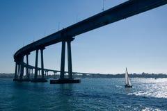 San Diego-Coronado Bridge. The San Diego-Coronado Bridge, locally referred to as the Coronado Bridge, is a prestressed concrete/steel girder bridge, crossing stock image