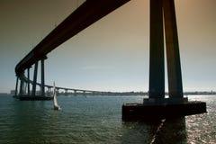 San Diego - Coronado Bridge. The San Diego-Coronado Bridge, locally referred to as the Coronado Bridge, is a prestressed concrete/steel girder bridge, crossing stock photo