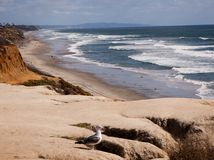San Diego County beaches. From Carlsbad to La Jolla the sandstone cliffs are a worldwide destination for the beauty and peace of this scenic area Stock Photography