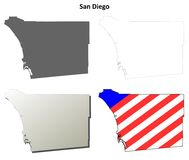 San Diego County, California outline map set. San Diego County, California blank outline map set Stock Image