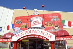 San Diego County Fair Scene. SAN DIEGO, CA -  JULY 2011:  Ten Pound Buns sign from the San Diego County Fair, formally called the Del Mar Fair on July 1, 2011 in Royalty Free Stock Photos