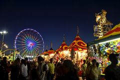 San Diego County Fair Scene At Night Stock Image