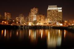 San Diego da baixa na noite fotografia de stock