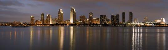 San Diego Downtown at dusk. Panorama of San Diego downtown at dusk, shot from Coronado island Stock Photos
