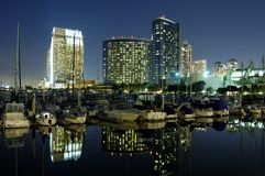 San Diego downtown marina. At night Royalty Free Stock Photography