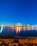 San Diego downtown seen from Coronado. At night, California stock photos