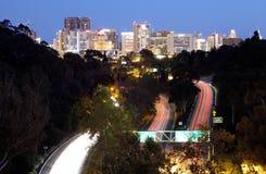 San Diego downtown skyline. With blurred traffic flow stock photos