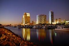 San Diego Downtown skyline. At night stock photo