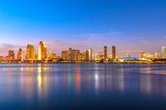 San Diego Downtown skymning royaltyfria bilder