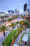 San Diego Dusk. Lights of downtown San Diego at dusk with palm trees, buildings, and sky Royalty Free Stock Photo