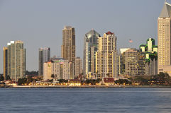 San Diego at dusk. The downtown buildings of San Diego reflect the fading light as dusk descends on the city stock images