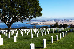 San Diego with Fort Rosecrans National Cemetary in front. The San Diego with Fort Rosecrans National Cemetary in front royalty free stock photography