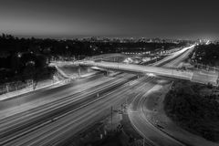 San Diego 405 Freeway Los Angeles Black and White. San Diego 405 Freeway black and white in Los Angeles, California royalty free stock photography