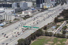 San Diego 405 Freeway in Los Angeles. Los Angeles, California, USA - March 22, 2014:  Aerial view of free flowing traffic on Los Angele's giant San Diego 405 Stock Photo