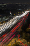 San Diego Freeway Los Angeles Night Arkivfoto