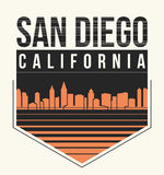 San Diego graphic, t-shirt design, tee print, typography, emblem Royalty Free Stock Image