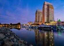 San Diego Harbor à l'aube Images stock