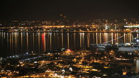 San diego harbor and city time lapse night stock video footage