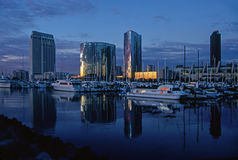 San Diego harbor at dusk. San Diego harbor Embarcadero at dusk Royalty Free Stock Photography