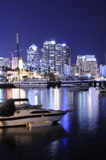 San Diego harbor at night. San Diego harbor skyline at night royalty free stock photo