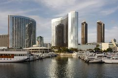 San Diego Harbor and Skyline Reflected Royalty Free Stock Photo