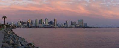 San Diego Harbor at Sunset. Panoramic of San Diego Harbor at Sunset with colorful tones stock photos