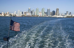 San Diego Harbor View. A view of the San Diego Harbor and skyline from a cruise ship royalty free stock image