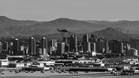 San Diego Helicopter over downtown royalty free stock images