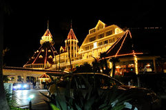 San Diego Hotel at night. San Diego Hotel with holiday lights at night Stock Image