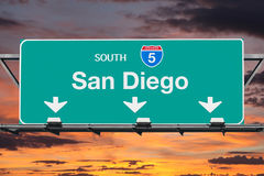 San Diego Interstate 5 South Highway Sign with Sunrise Sky Royalty Free Stock Images