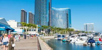 SAN DIEGO - JULY 29, 2017: Modern buildings of San Diego skyline. San Diego attracts 20 million people annually royalty free stock image