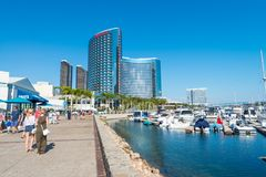 SAN DIEGO - JULY 29, 2017: Modern buildings of San Diego skyline. San Diego attracts 20 million people annually stock photo