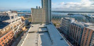 SAN DIEGO - JULY 29, 2017: Modern city skyline. San Diego attracts 20 million people annually.  stock photos