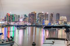 SAN DIEGO - JULY 29, 2017: Night skyline of San Diego from city. Port royalty free stock photography