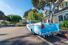 SAN DIEGO - JULY 29, 2017: Old vintage car along city streets. S royalty free stock image