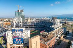 SAN DIEGO - JULY 29, 2017: Petco Park and Coronado Bridge on background. San Diego attracts 20 million people annually royalty free stock photos
