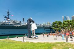 SAN DIEGO - JULY 30, 2017: Unconditional Surrender sculpture at. Sea port. By Seward Johnson, the statue resembles the photograph of V-J day in Times Square Stock Images