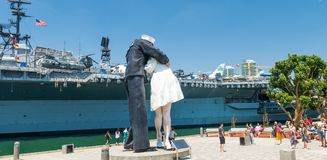 SAN DIEGO - JULY 30, 2017: Unconditional Surrender sculpture at Royalty Free Stock Image