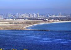 San Diego Kalifornien från Cabrillo den nationella monumentet på Point Loma Fotografering för Bildbyråer