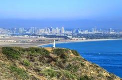 San Diego Kalifornien från Cabrillo den nationella monumentet på Point Loma Arkivfoto