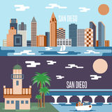 San Diego landmarks horizontal flat design vector Royalty Free Stock Photography