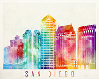 San Diego landmarks. In watercolor poster Stock Images
