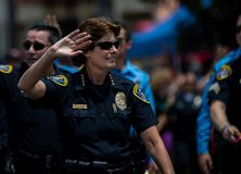 San Diego LGBT pride parade 2017, police force. Police chief, participant of San Diego 2017 LGBT pride parade, California stock photography