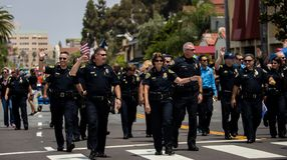 San Diego LGBT stolthet ståtar 2017, polisstyrka Royaltyfri Bild