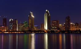 San Diego lights panorama. San Diego downtown skyline after dusk, from Coronado Island royalty free stock images