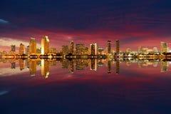 San Diego linii horyzontu noc obrazy stock