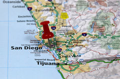 San diego. Map with pin point of san diego in california stock images