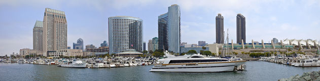 San Diego marina downtown buildings panorama. Royalty Free Stock Images
