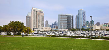 San Diego marina and the downtown buildings. Royalty Free Stock Image